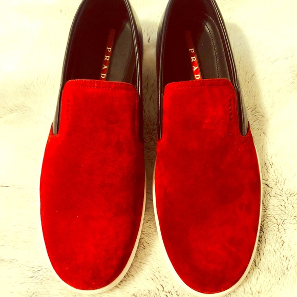 9f0501328adfa Prada Black Red Suede Leather Slip On Sneakers